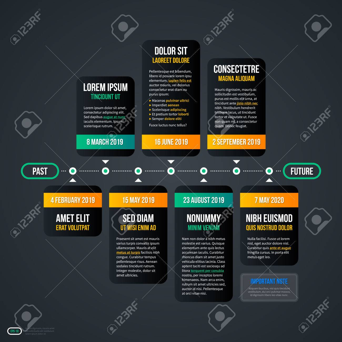 Horizontal Timeline Template For Web EPS Royalty Free Cliparts - Timeline website template