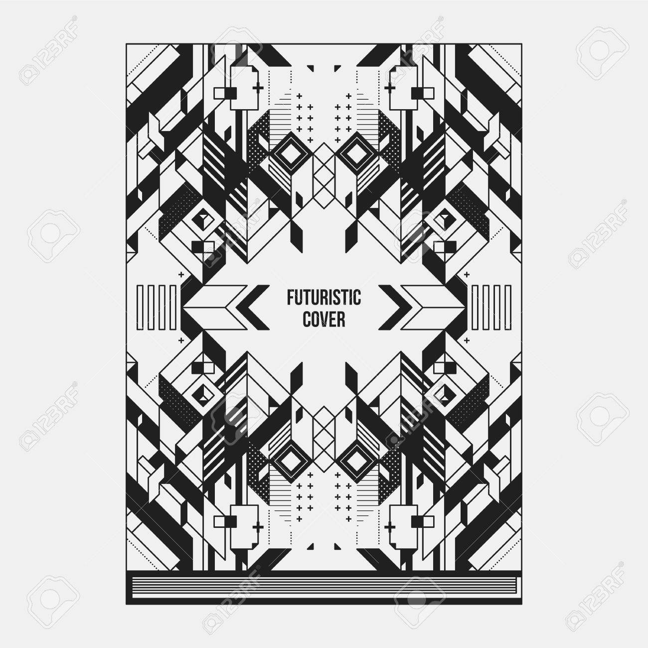 Book/poster/magazine Cover Design Template With Abstract Symmetric ...