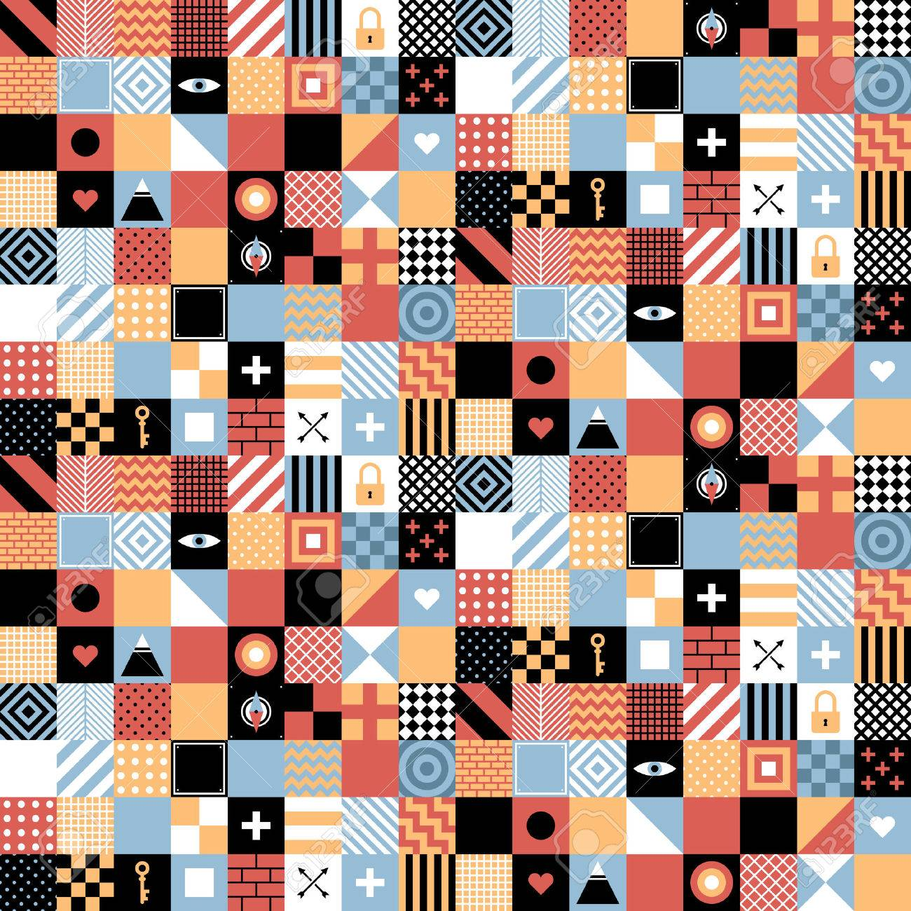 Seamless geometric pattern in flat style with squares and small icons. Useful for wrapping, wallpapers and textile. Foto de archivo - 67675031