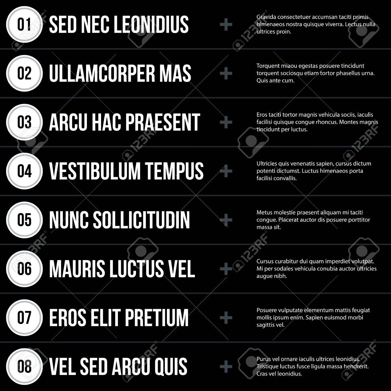 futuristic corporate menu list template on black background