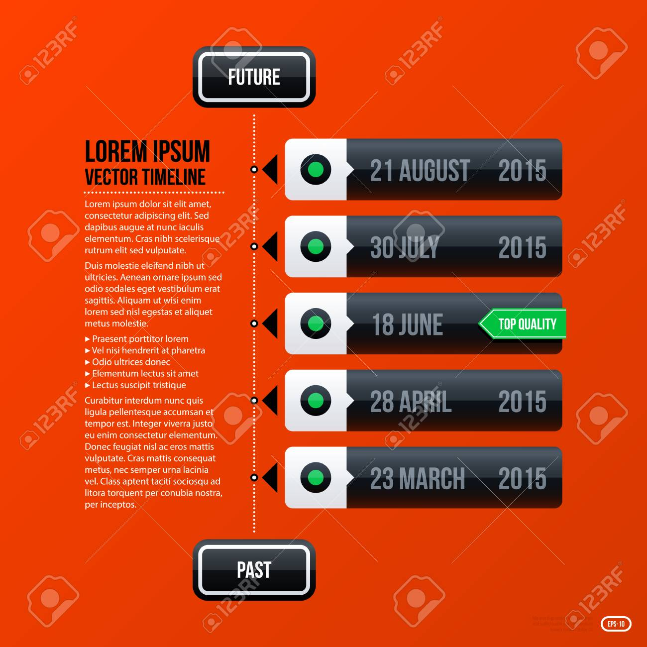 Corporate Business Timeline Template On Bright Orange Background ...