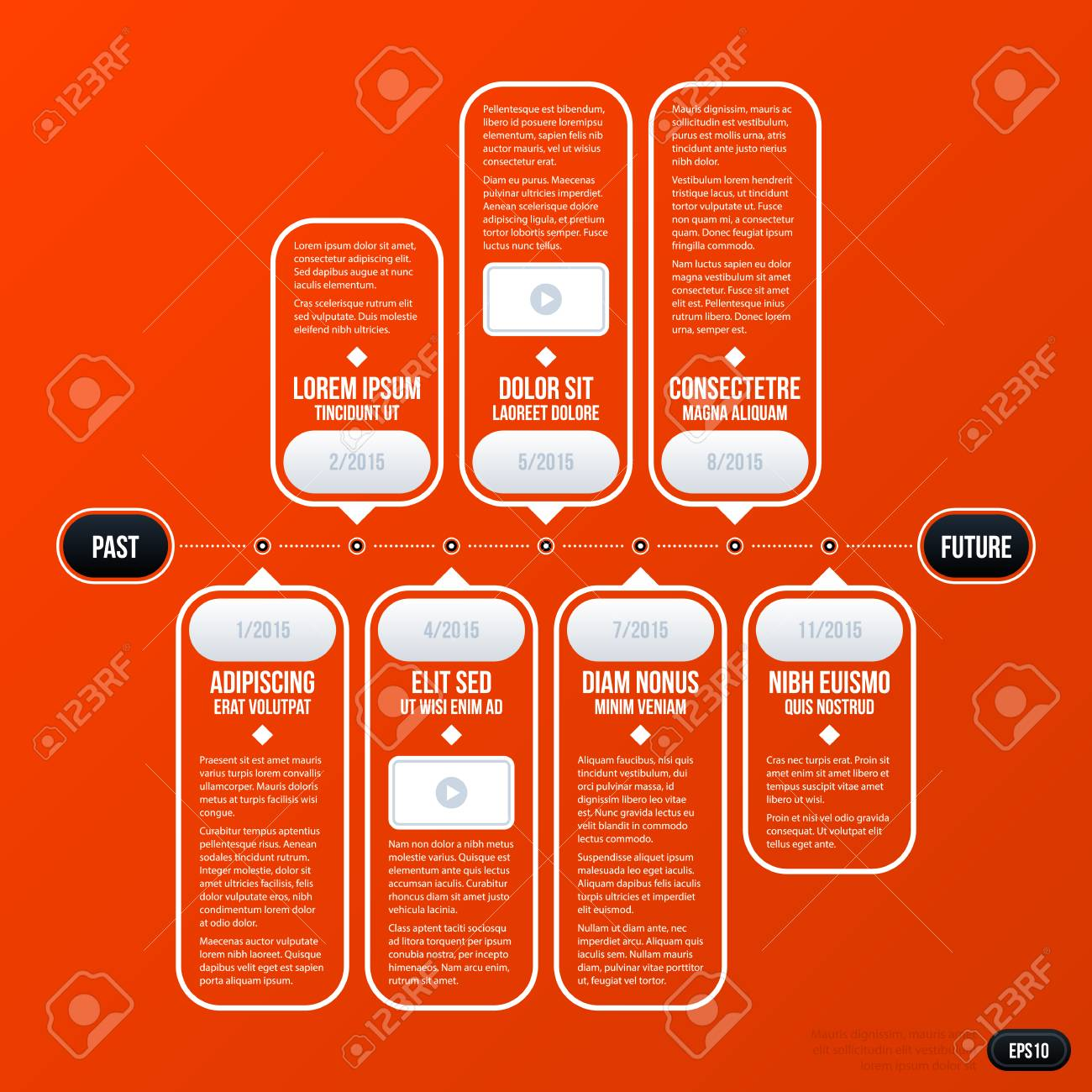 Beautiful Corporate Business Timeline Template On Bright Orange Background. Useful  For Presentations And Advertising. Stock