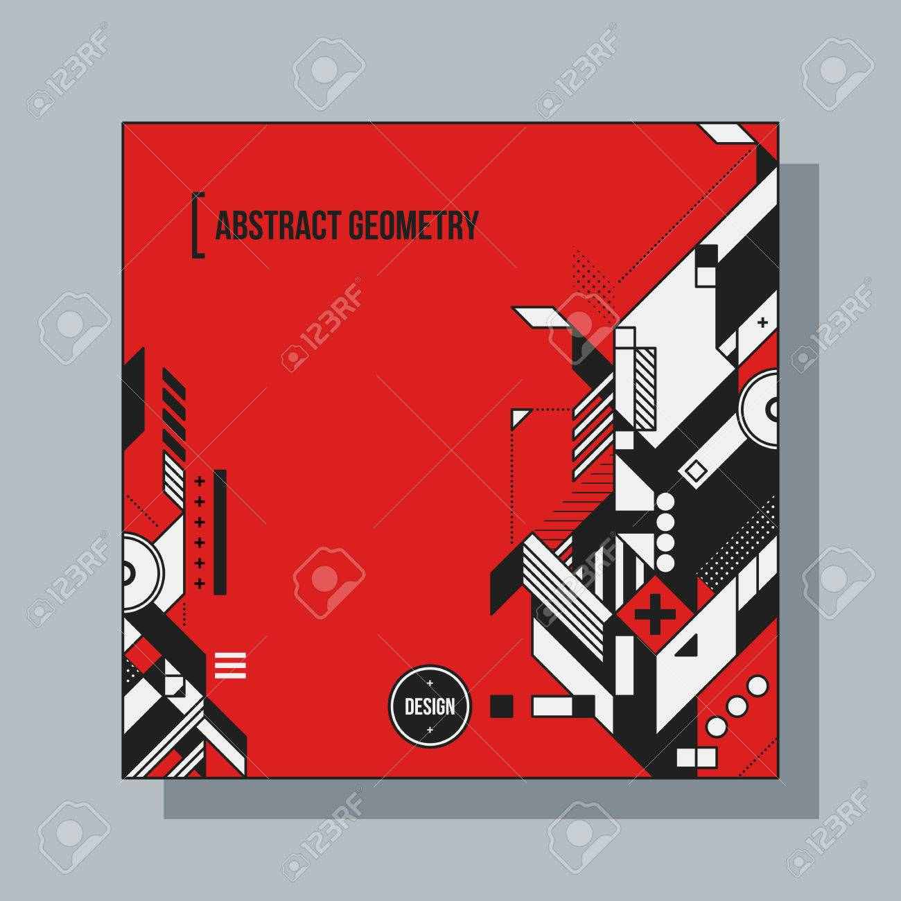 Square background design template with abstract geometric elements