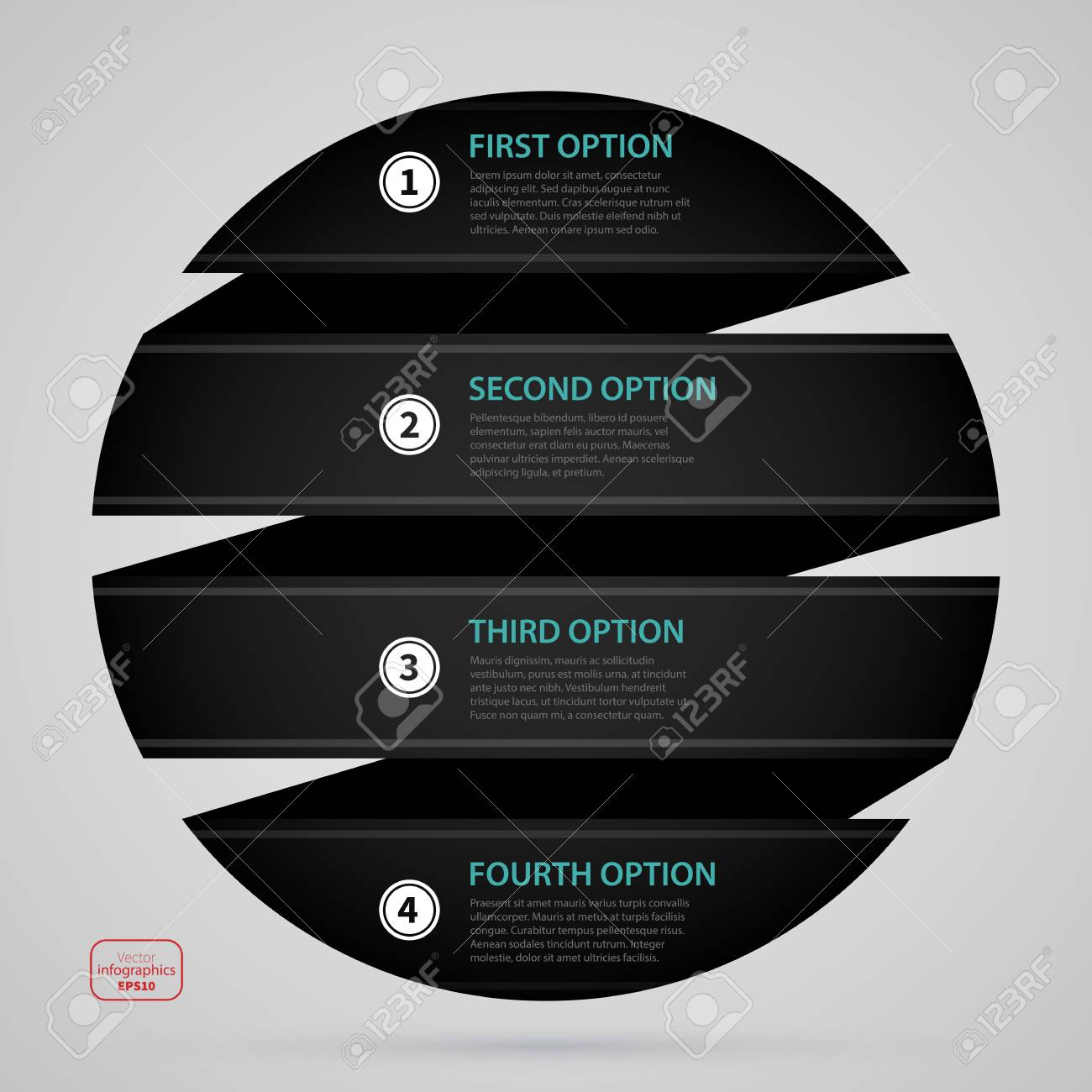 Modern Web Design Sphere Template With Four Options Made Of Black Paper Stripe Strict Corporate