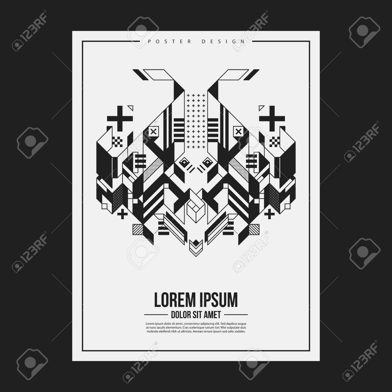 Poster/print design template with symmetric abstract element