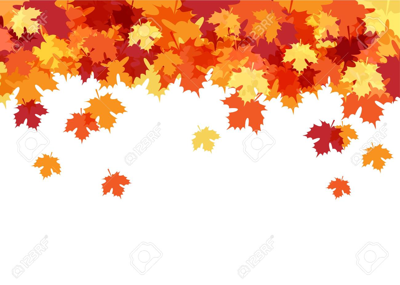 Hello Autumn Card with Maple Leaves Decorative Background - 141923328