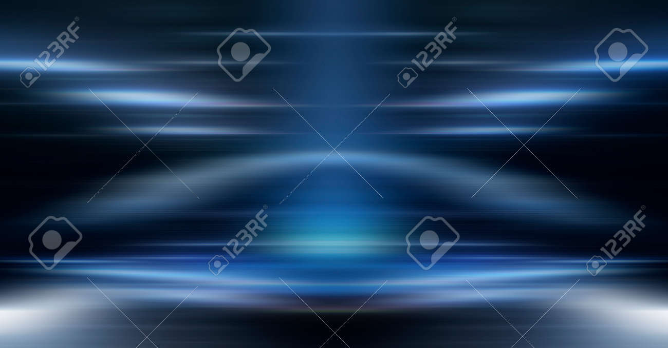Dark background with lines and spotlights, neon light, night view. Abstract blue background. Empty neon scene with rays, blur, night view. - 159631081