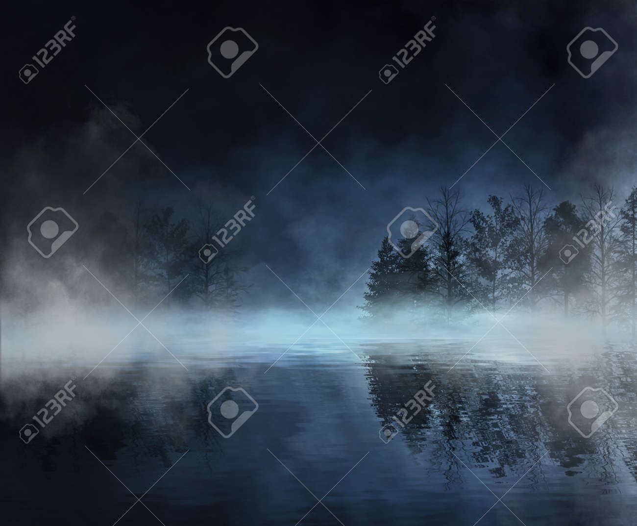 Dark abstract winter forest background. Wooden floor, snow, fog. Dark night background in the forest with moonlight. Night view, magic. Fantasy forest. - 165698096