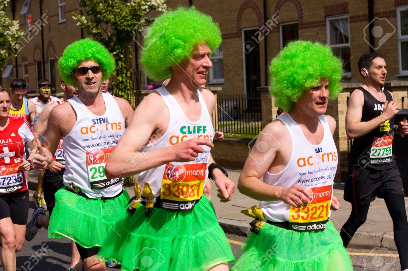 LONDON - APRIL 22: Unidentified people runs the London marathon on April 22, 2012 in London, England, UK. The marathon is an annual event. Stock Photo - 13537305