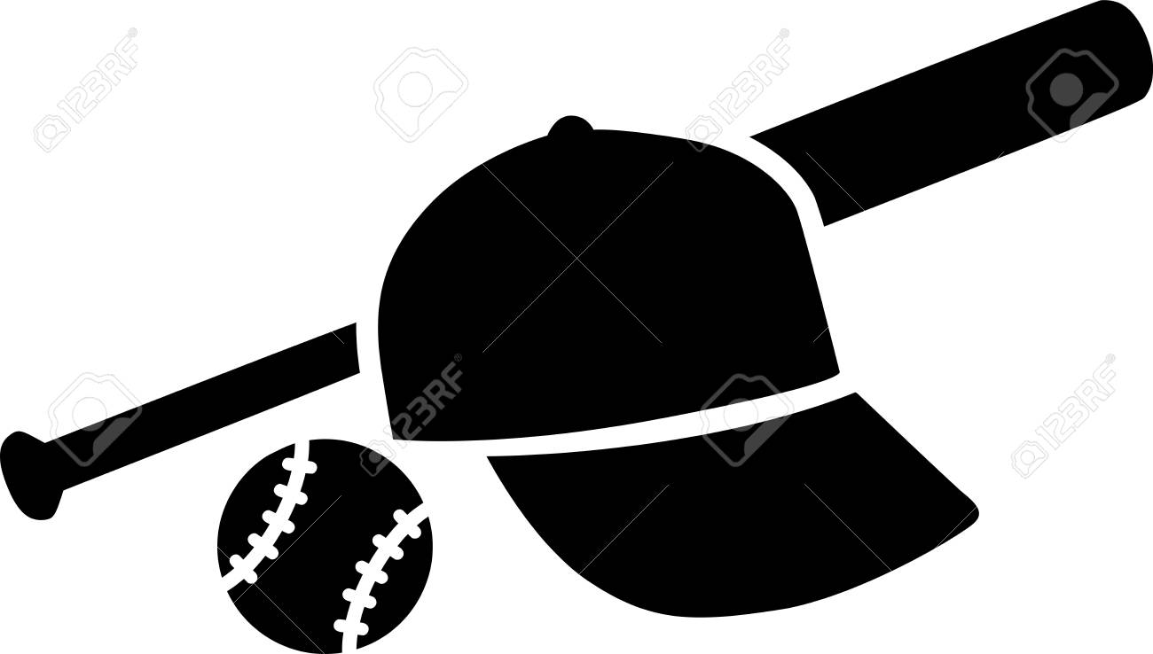 baseball bat with ball and cap royalty free cliparts vectors and rh 123rf com Baseball Bat Vector Silhouette Vector O Baseball Bat