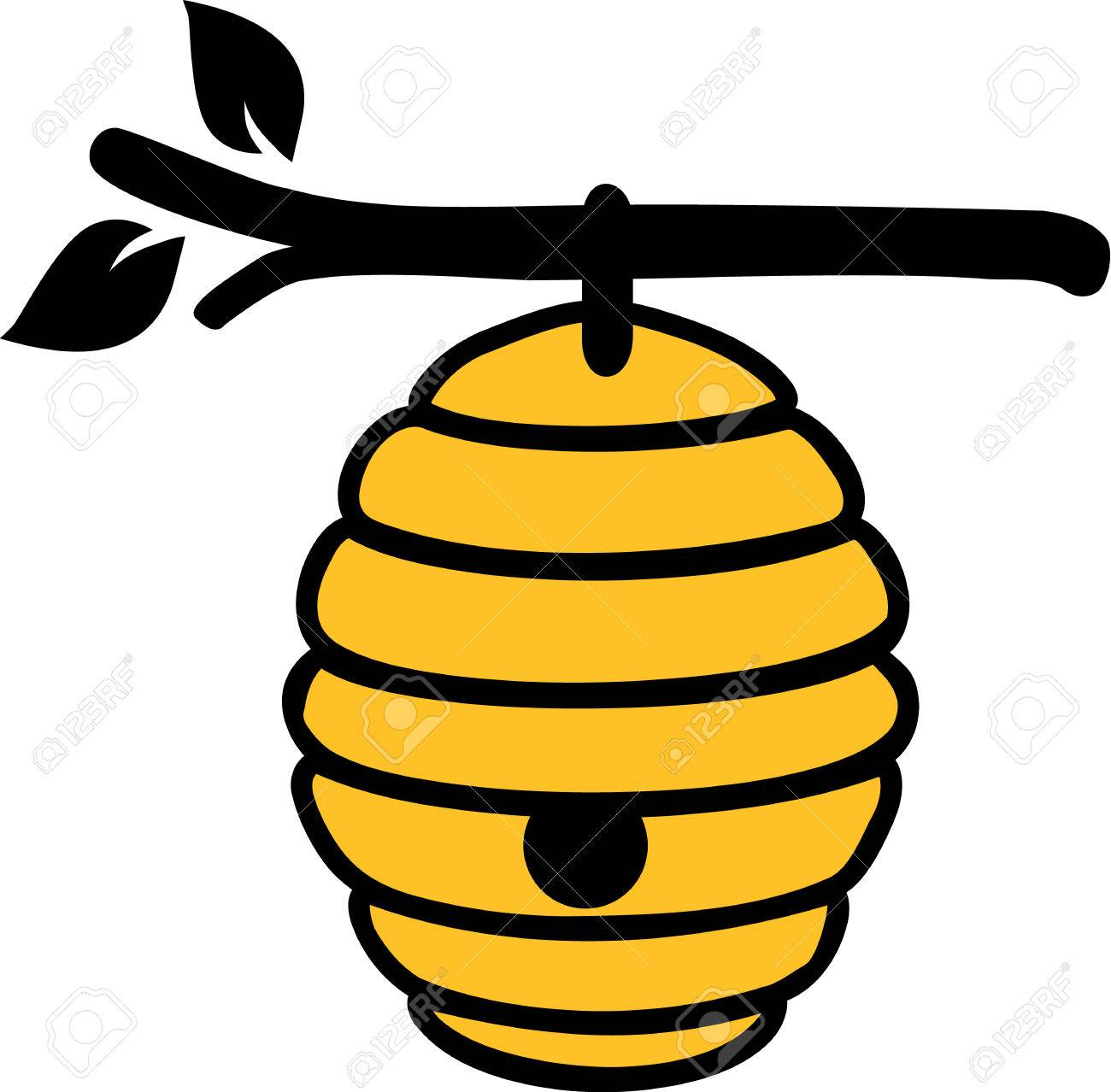 beehive on branch royalty free cliparts vectors and stock rh 123rf com beehive cartoon black and white beehive cartoon png