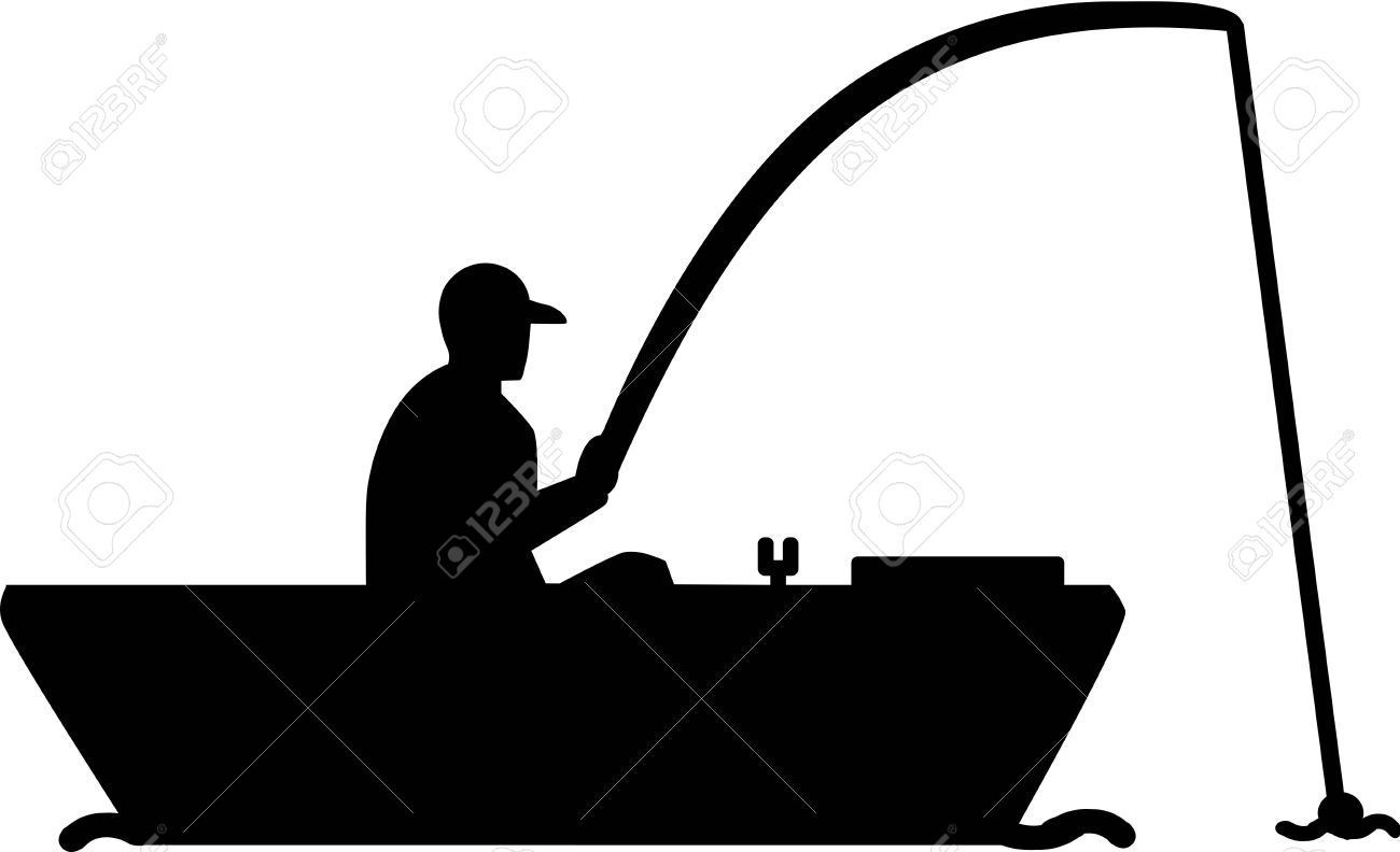 fishing silhouette man in boat royalty free cliparts vectors and rh 123rf com fishing boat silhouette clip art