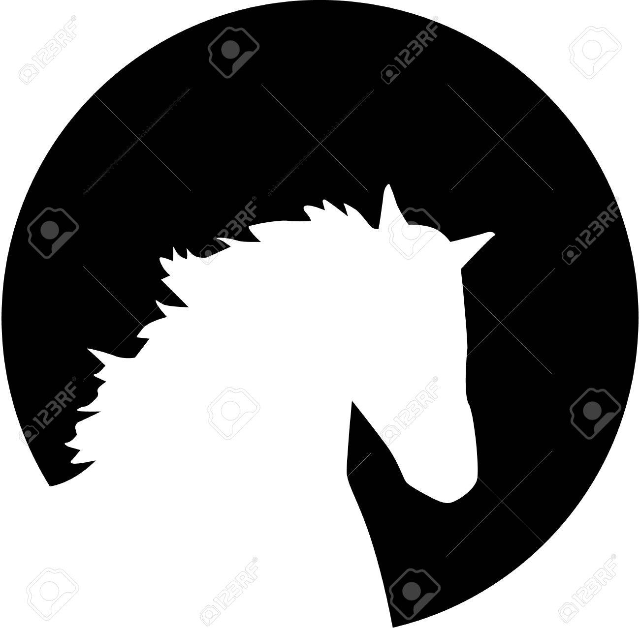 Horse Head Silhouette In Front Of The Moon Royalty Free Cliparts Vectors And Stock Illustration Image 46556928