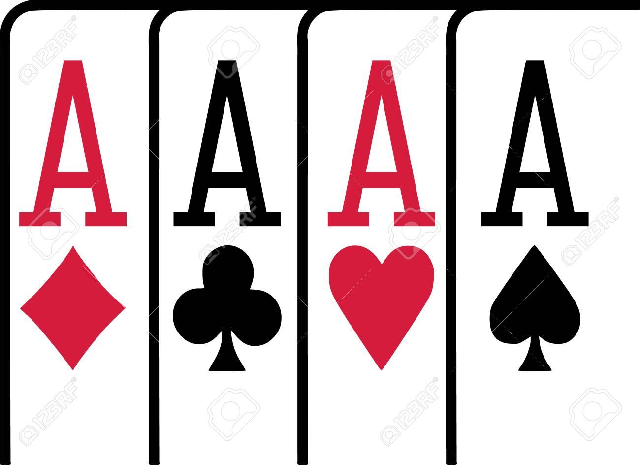 4 つのエース トランプ ポーカーを獲得のイラスト素材ベクタ Image