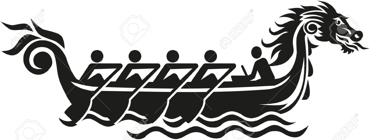 Dragon Boat Racing Icon Stock Vector