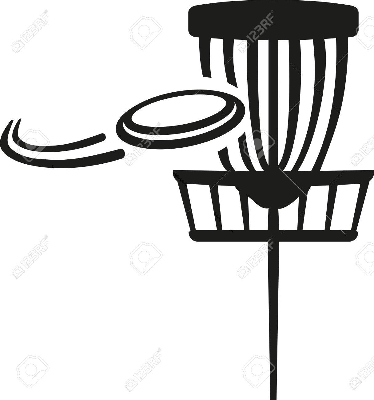 Disc golf basket with flying disk - 49616201