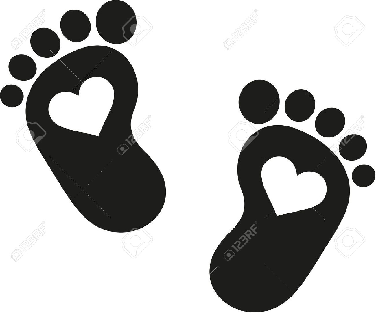Baby footprint icon with hearts - 50640170