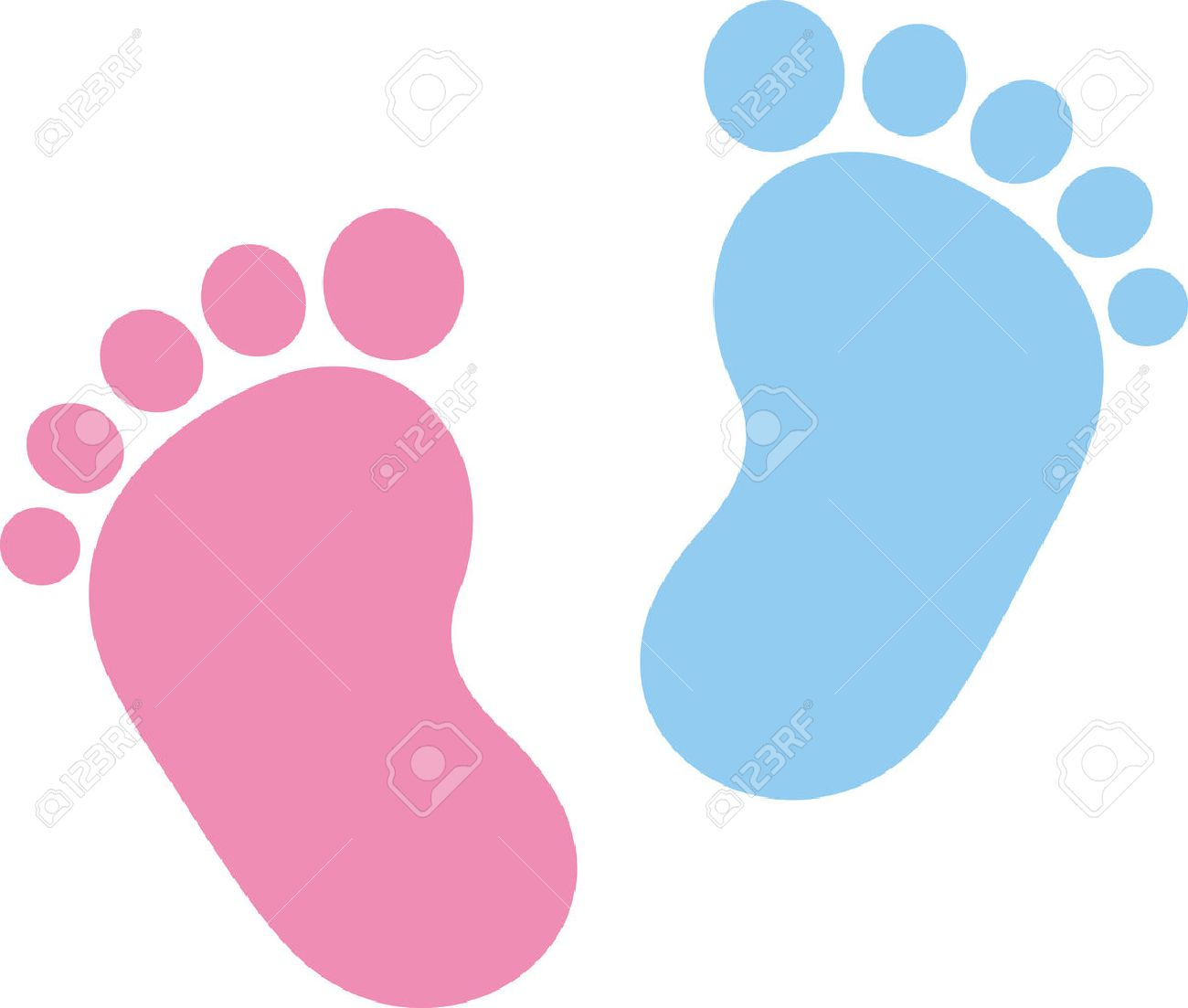 Baby footprint pink and blue - 50616215