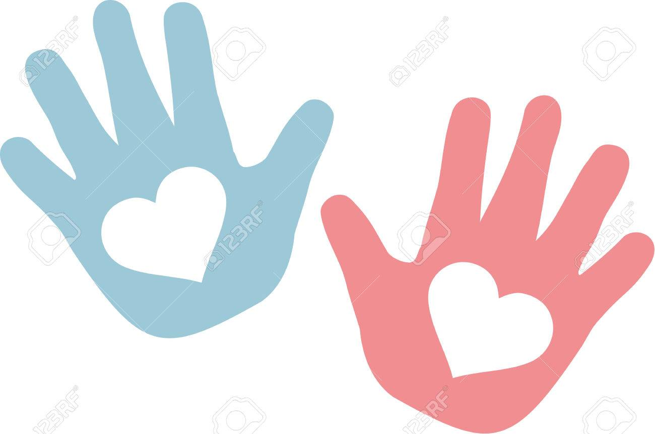 hands of baby blue and pink with hearts royalty free cliparts rh 123rf com free vector hands clip art free vector hands holding
