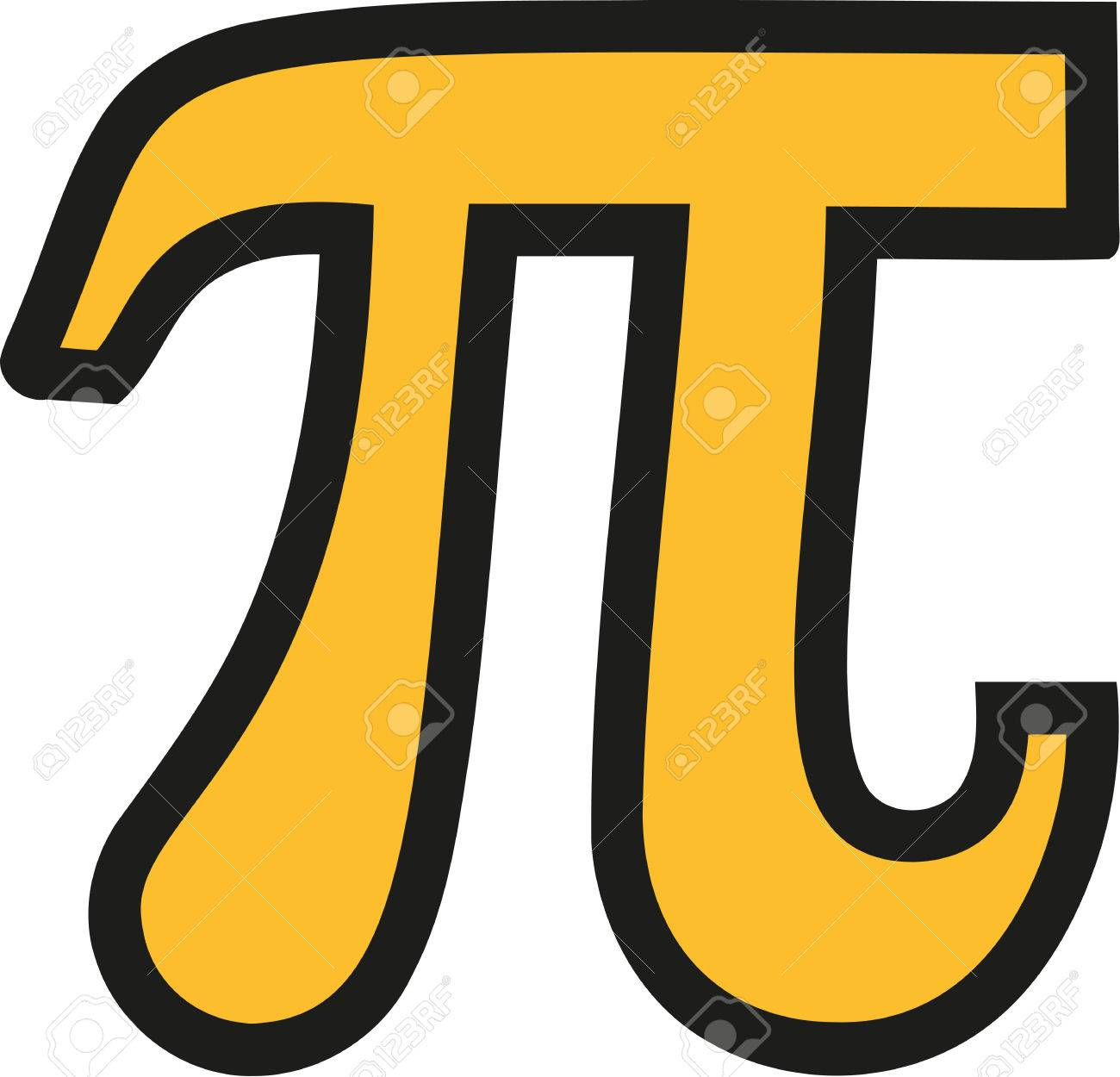 Yellow Pi Symbol With Black Outline Royalty Free Cliparts Vectors