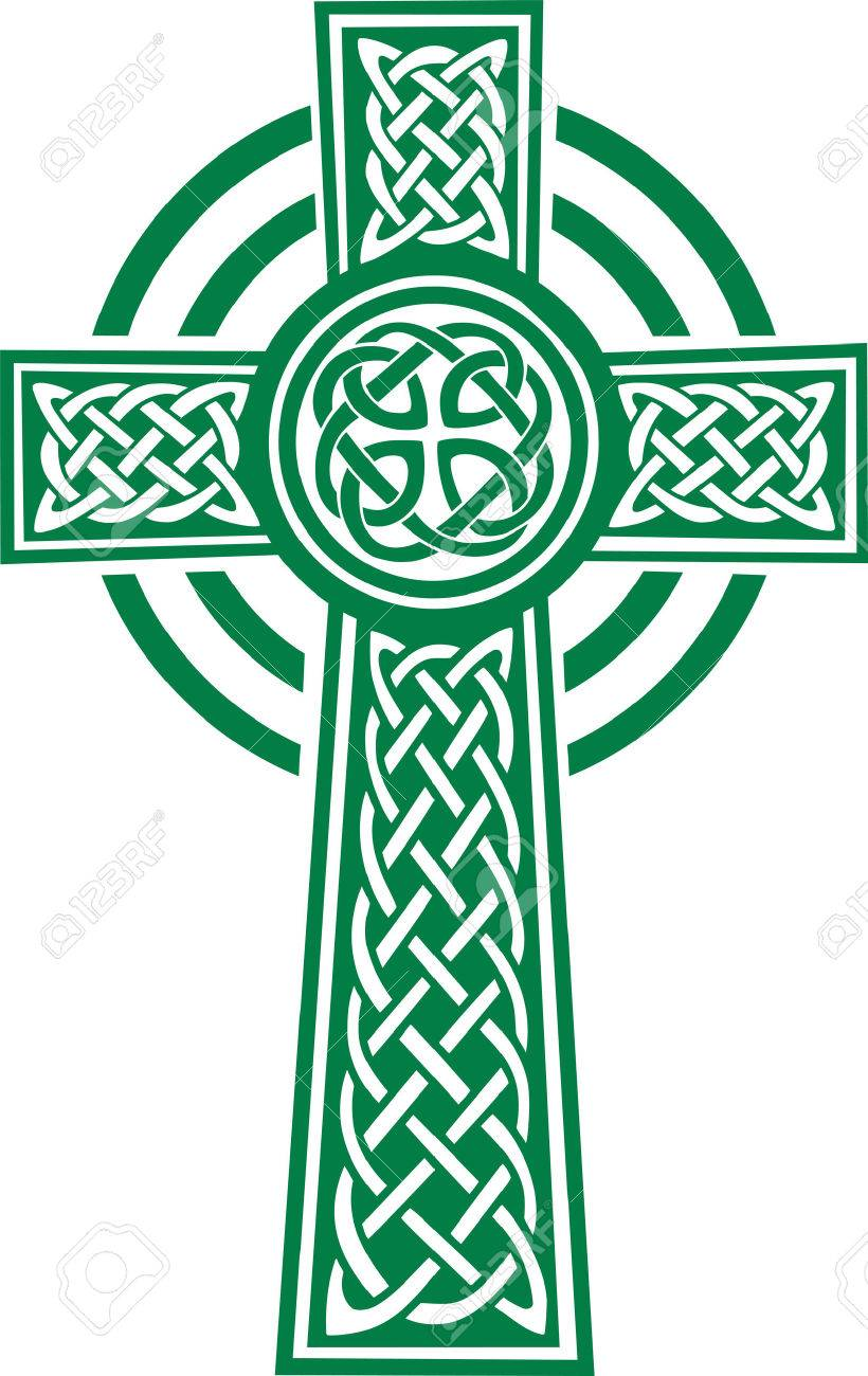 Green celtic cross with details - 50825564