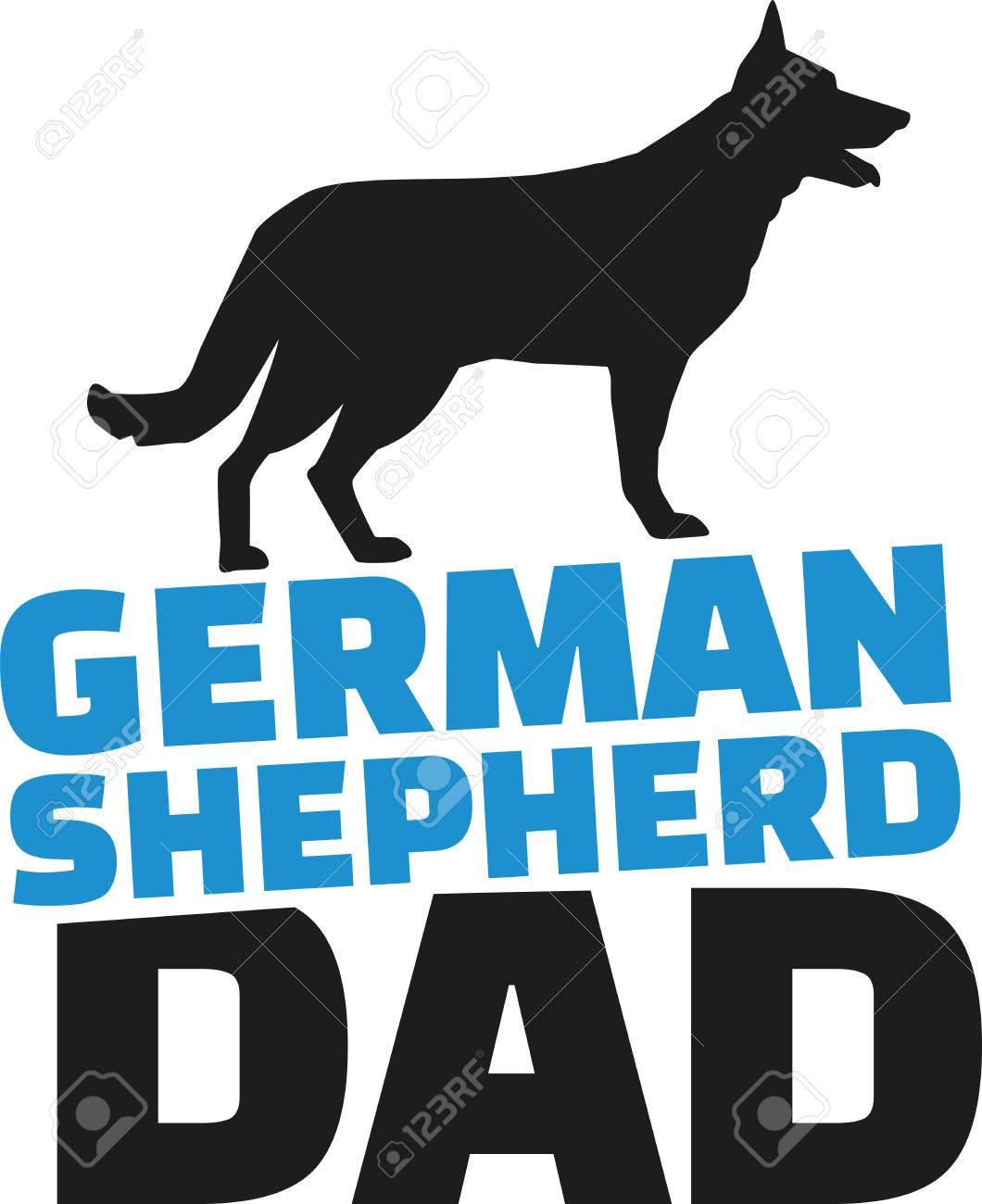 ジャーマン シェパード犬のシルエットのお父さんのイラスト素材