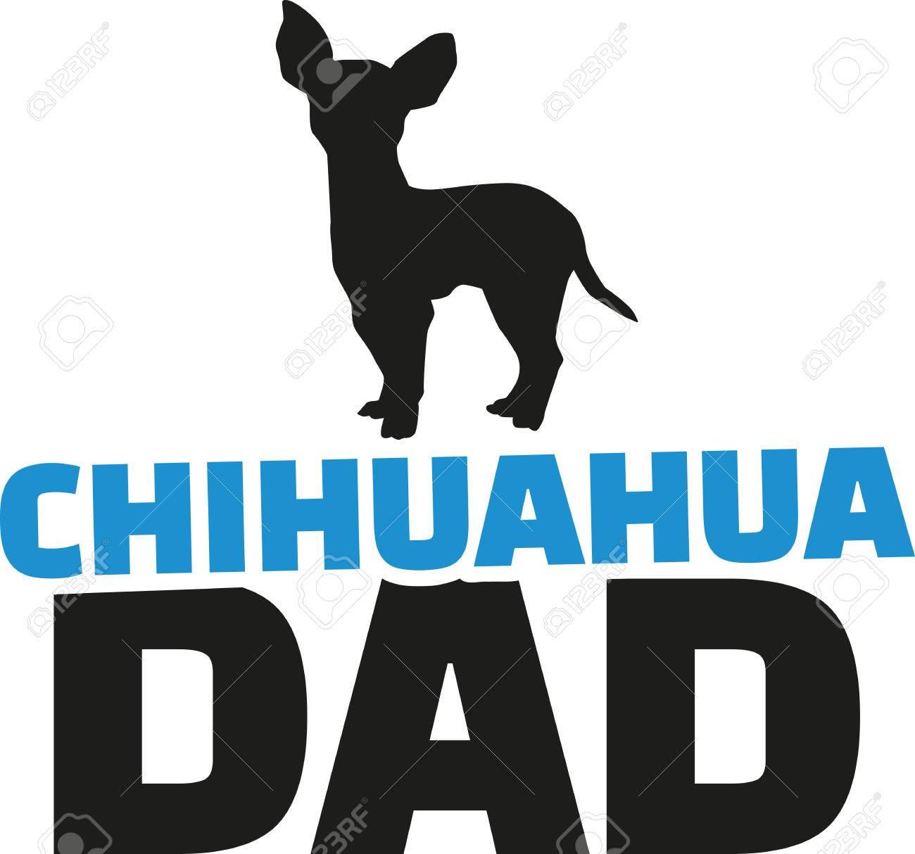 犬シルエットとチワワのお父さんのイラスト素材ベクタ Image 51405989