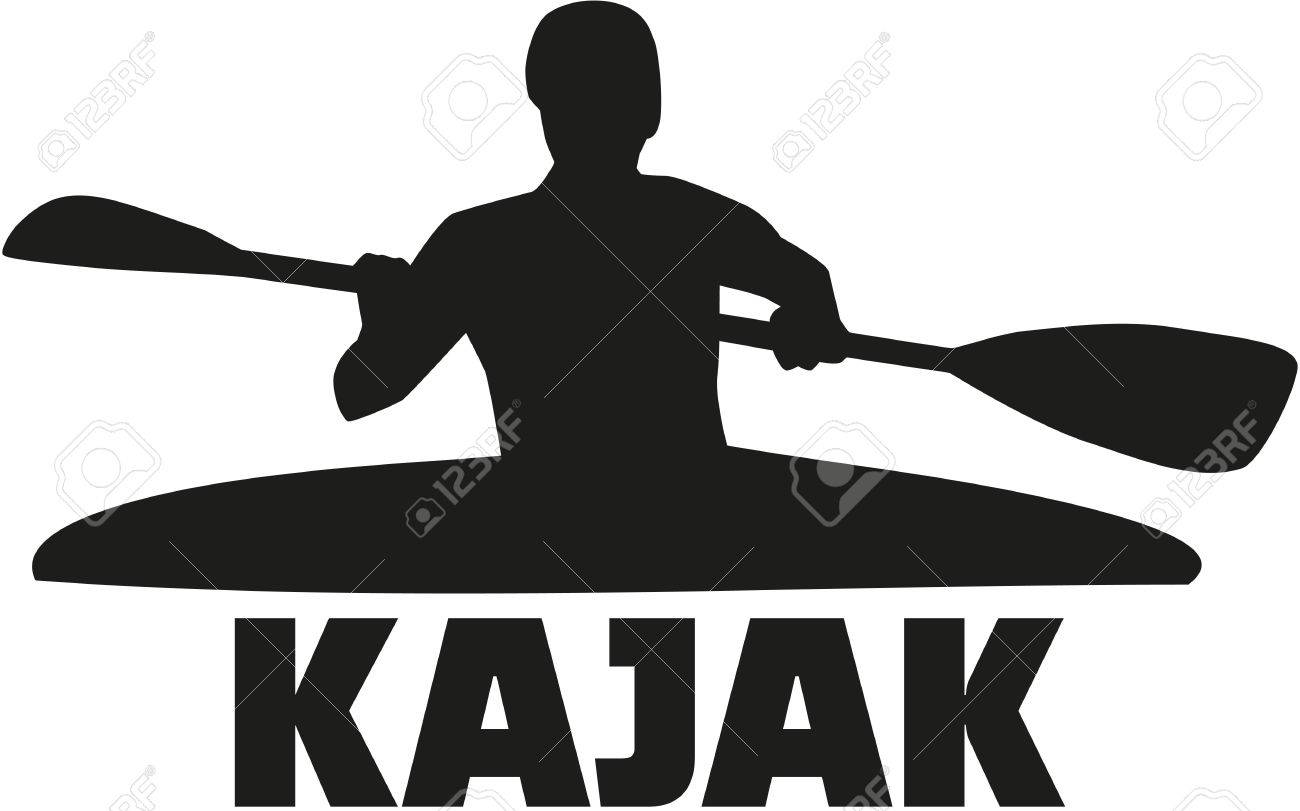 Kayak Silhouette With Word Stock Vector