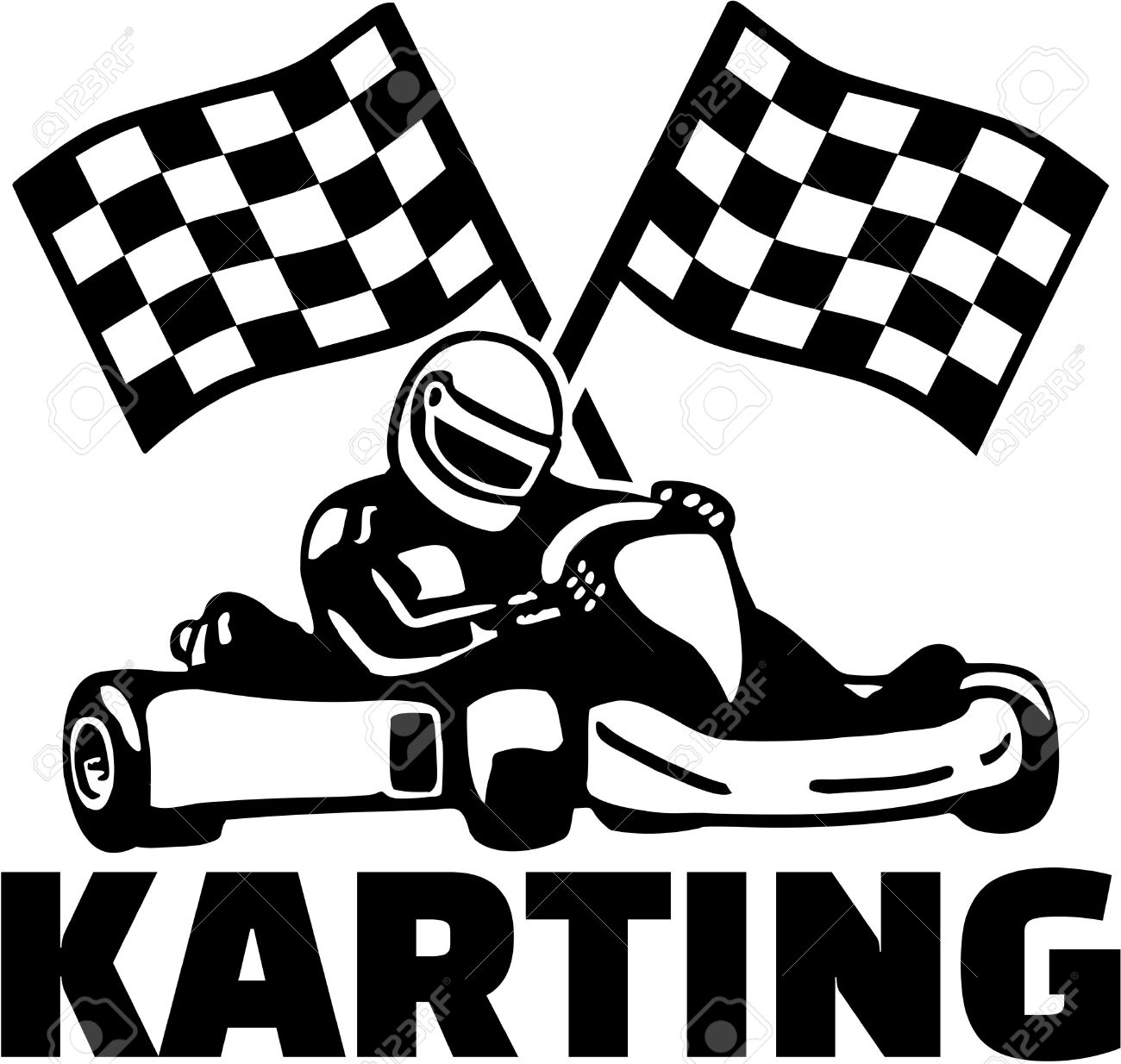 karting with kart driver and goal flags royalty free cliparts Dirt Go Karts karting with kart driver and goal flags stock vector 51818698