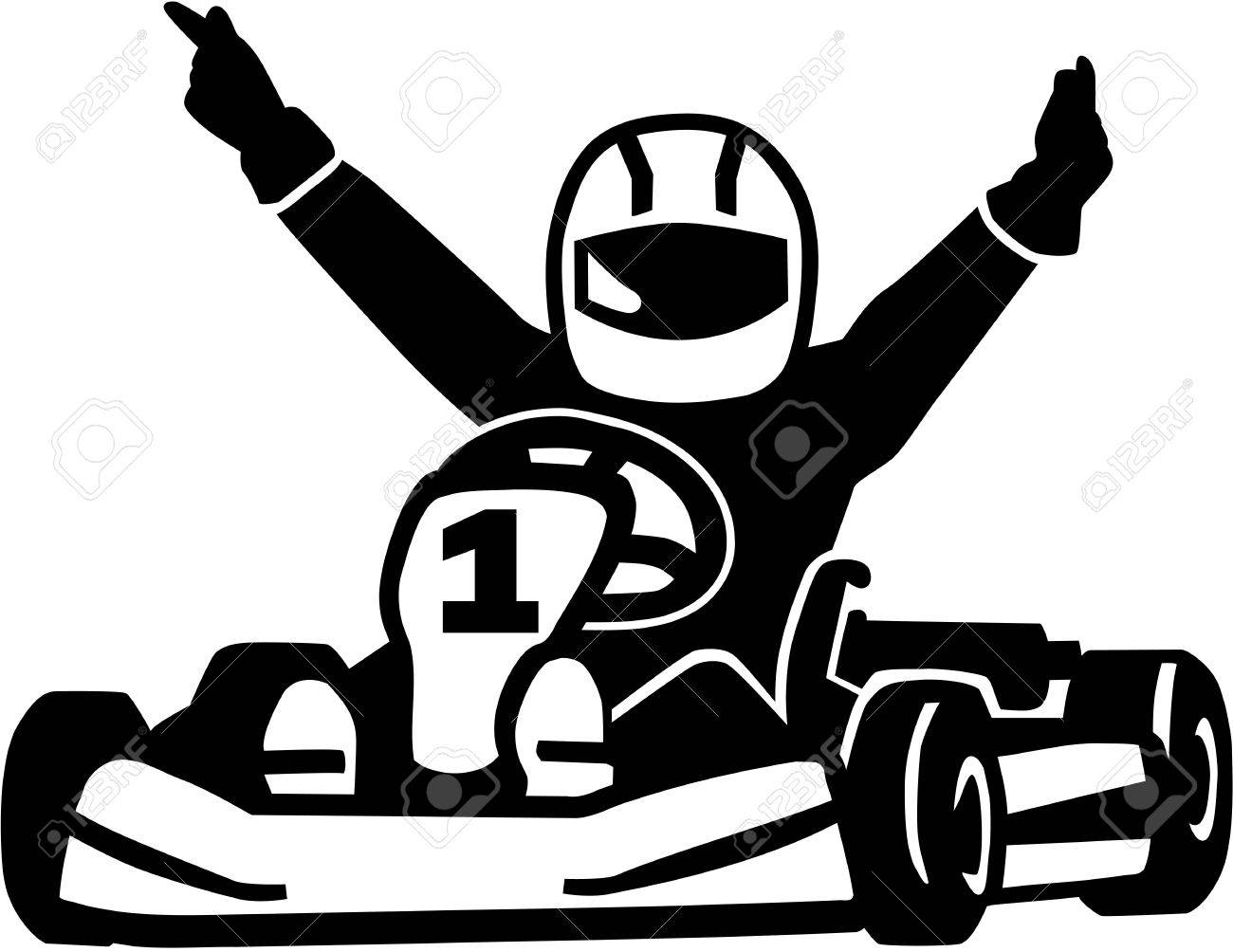 winning kart racer royalty free cliparts vectors and stock The Web Go Karts vector winning kart racer