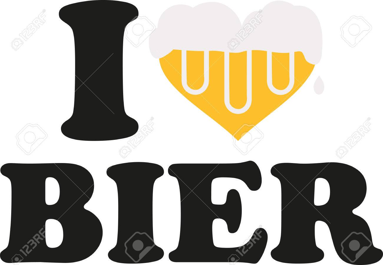 i love beer with heart full of beer german royalty free cliparts