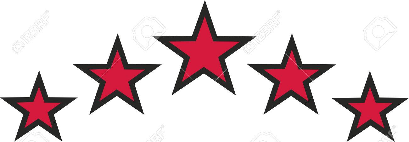 Red Stars With Black Outline Royalty Free Cliparts Vectors And