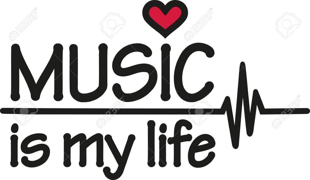 Music Is My Life With Heartbeat Royalty Free Cliparts Vectors And
