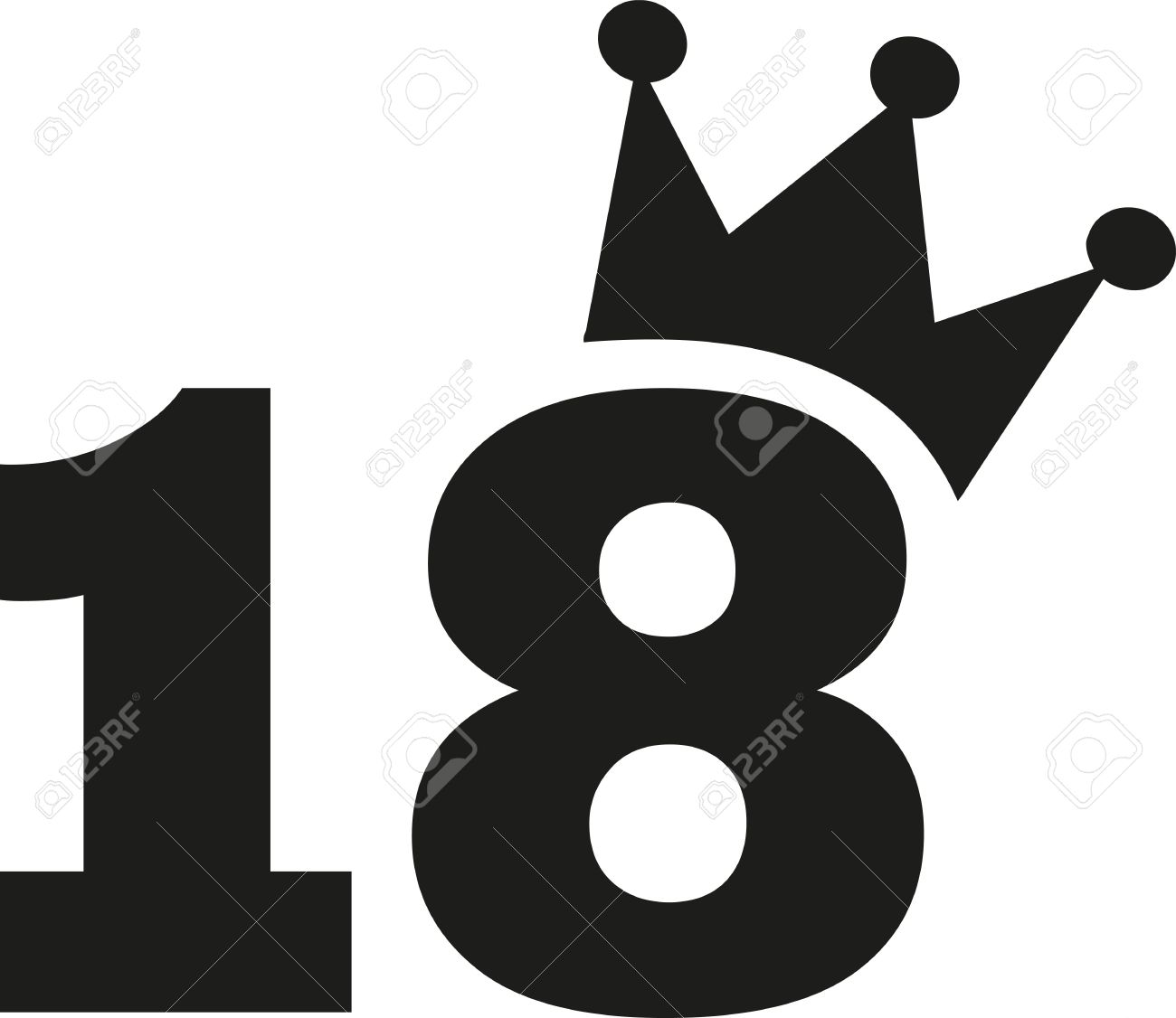 18th Birthday number crown Stock Vector - 60091619