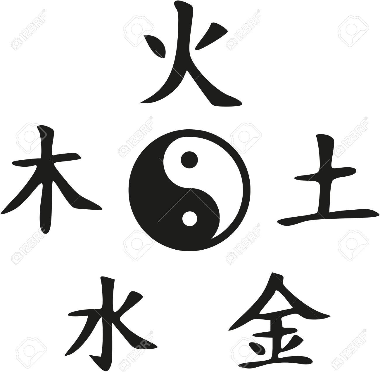 Feng Shui - Yin and Yang with five elements - 61197444