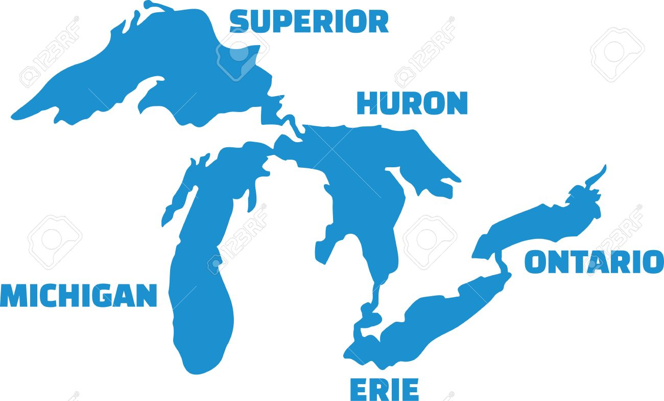 great lakes silhouettes with names royalty free cliparts vectors