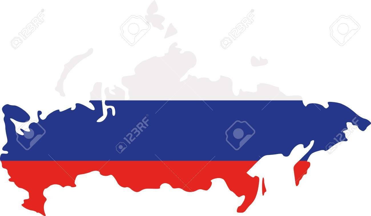 Russia Map With Flag Royalty Free Cliparts Vectors And Stock