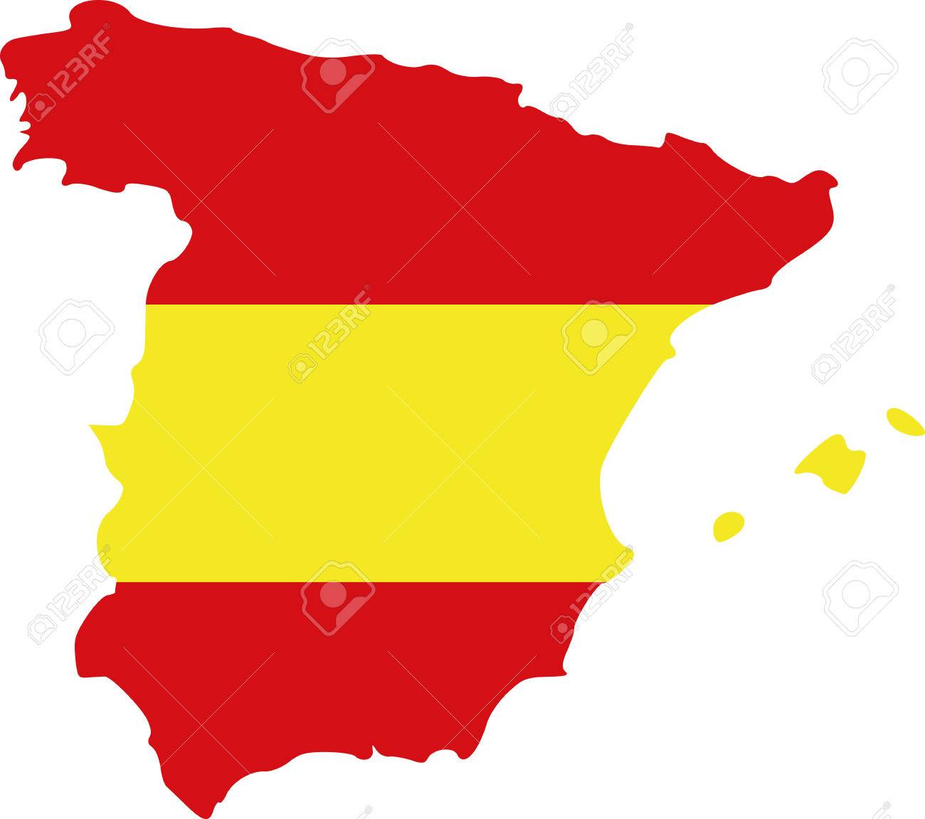 Spain Map Flag.Spain Map With Flag