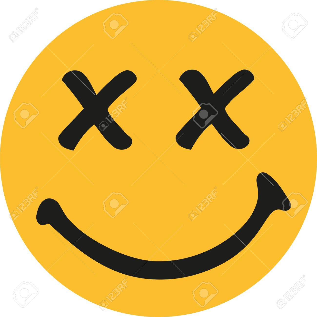 yellow smiley with x-rated eyes royalty free cliparts, vectors, and