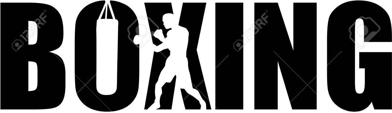 Boxing with boxer silhouette - 67601081