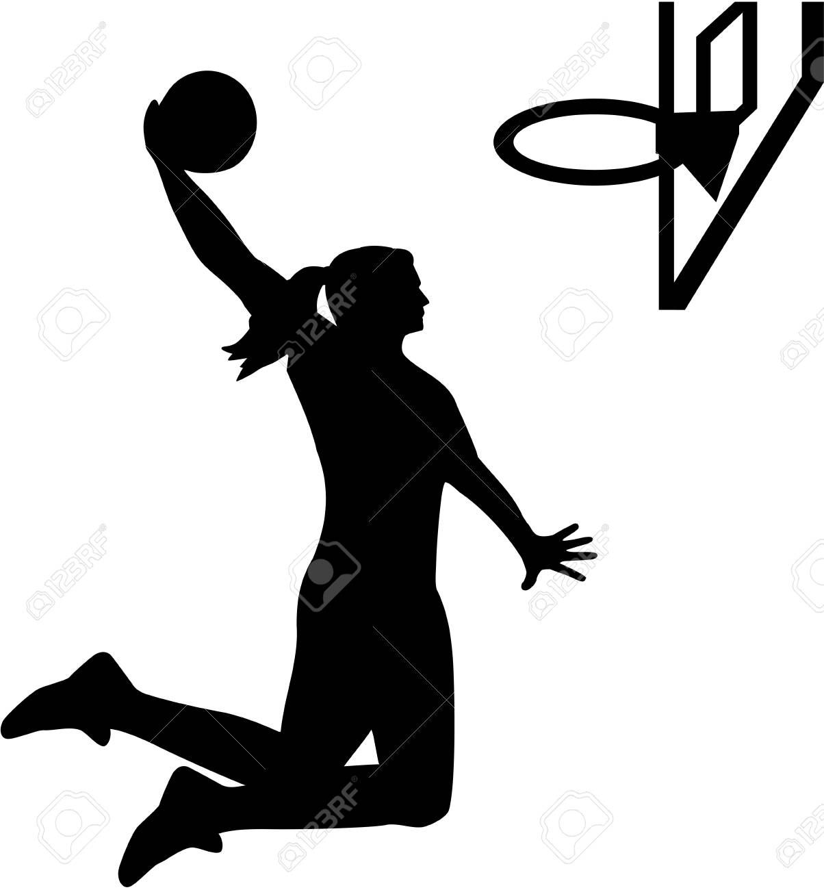 female basketball player royalty free cliparts vectors and stock rh 123rf com basketball team silhouette vector free basketball ball silhouette vector