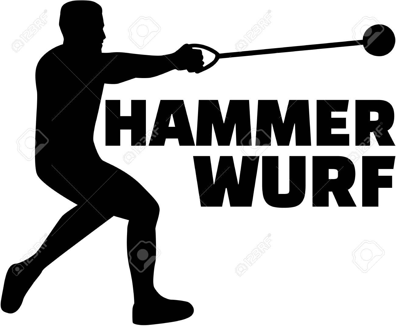 Hammer Throw Silhouette With German Word Royalty Free Cliparts ...