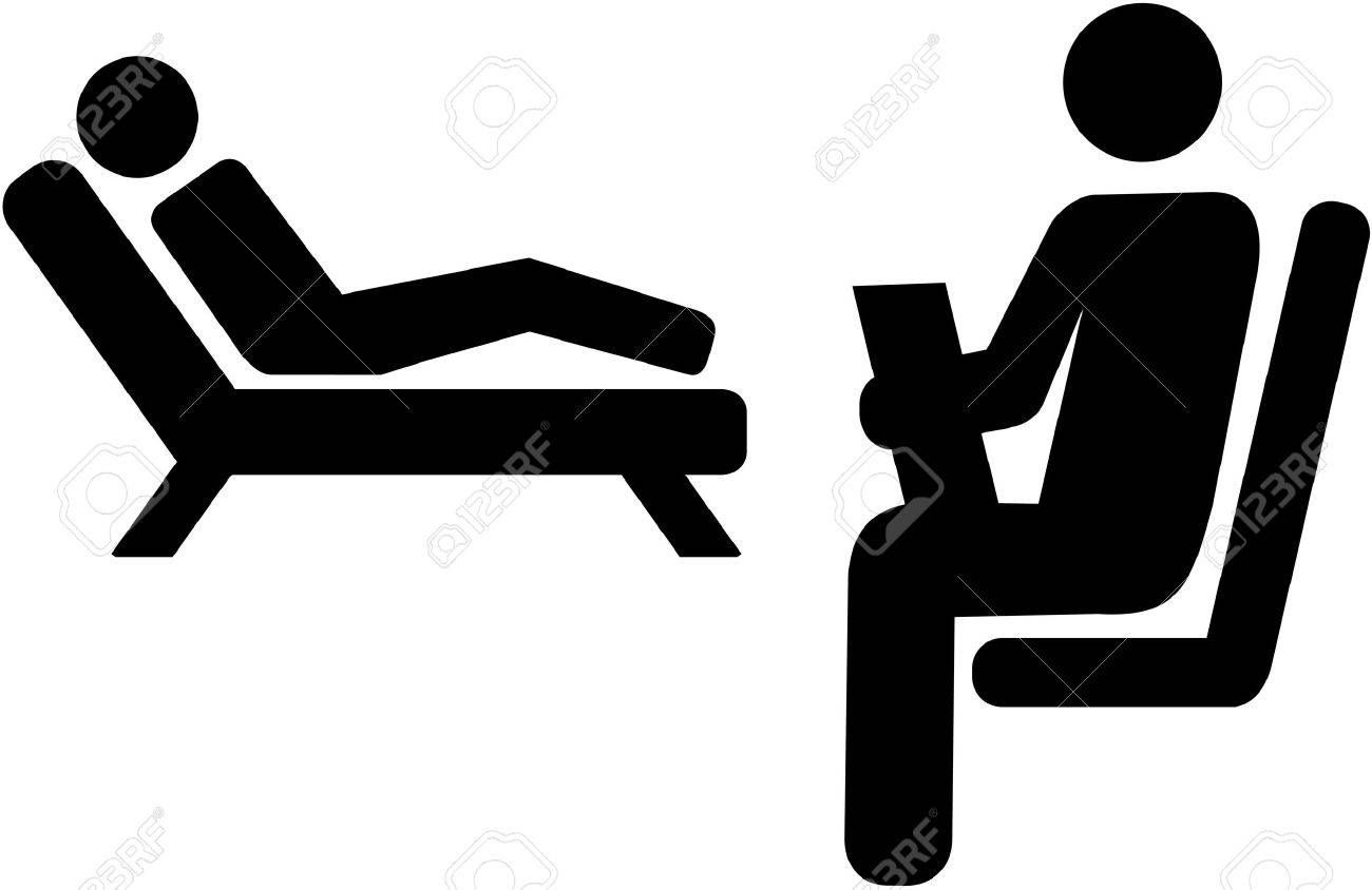 Psychologist icon with patient on a couch - 70069024