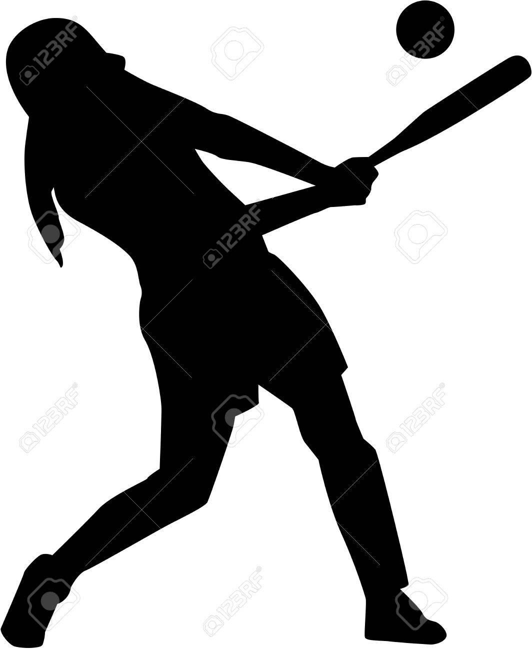 Softball batter woman silhouette - 70069070