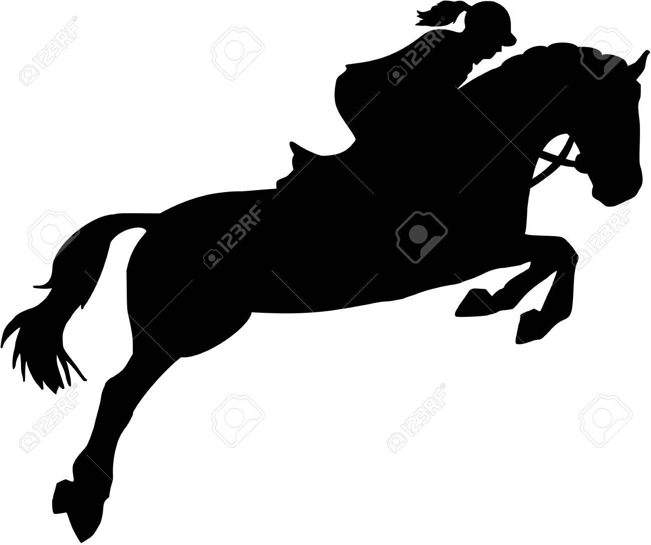 Show Jumping Silhouette With Woman Royalty Free Cliparts Vectors And Stock Illustration Image 70011959