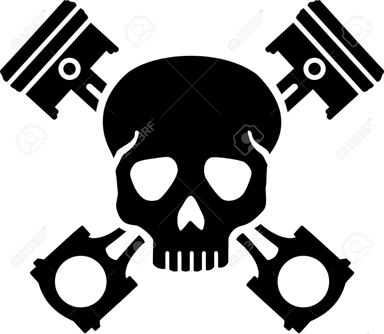 ef6331c4b99db Skull with crossed pistons Stock Vector - 70011827