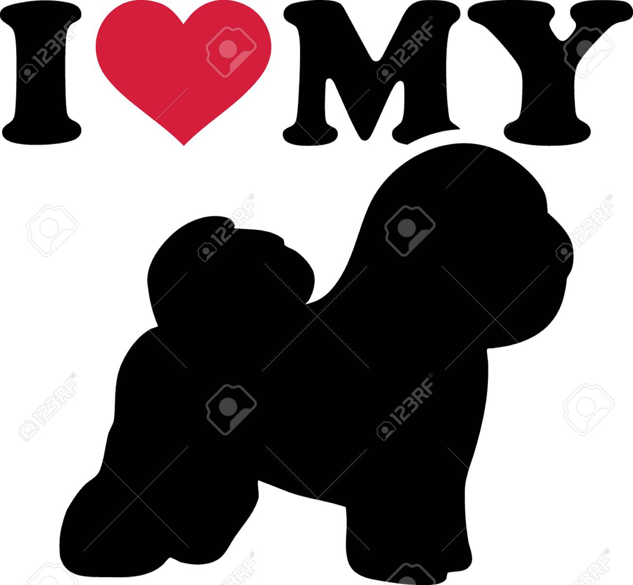 I Love My Bichon Frise With Red Heart And Silhouette Royalty Free Cliparts Vectors And Stock Illustration Image 103695688
