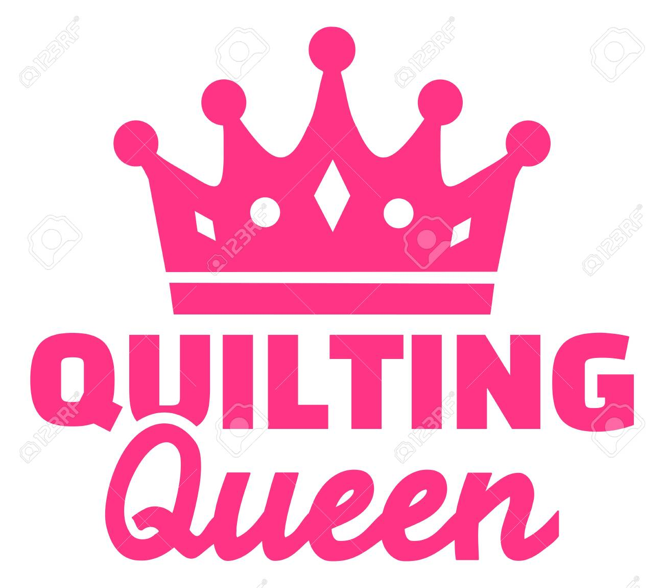 Quilting queen pink crown icon - 139820277