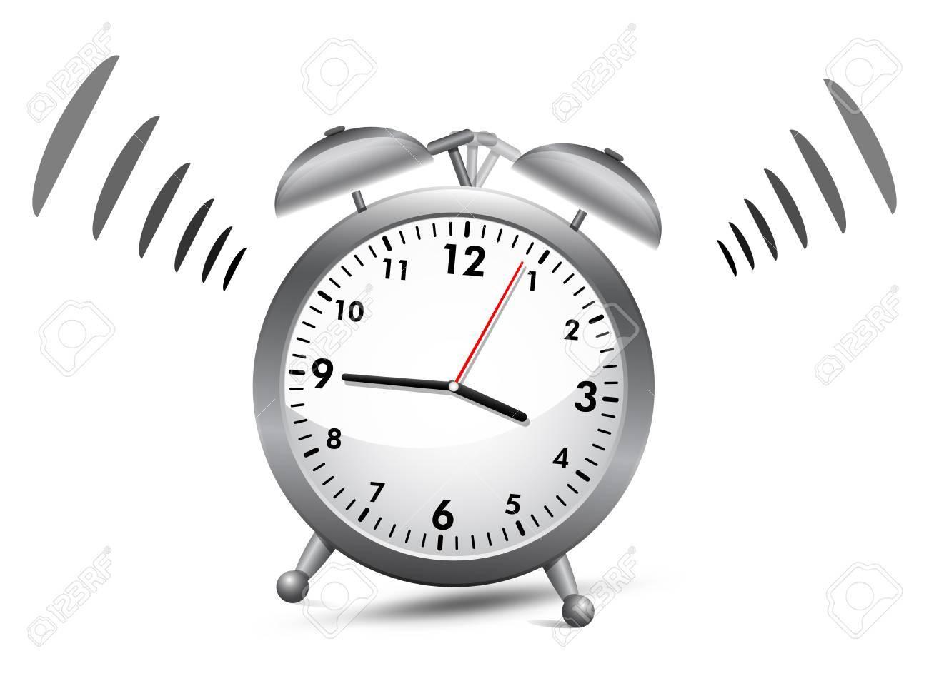 Silver analog alarm clock ringing