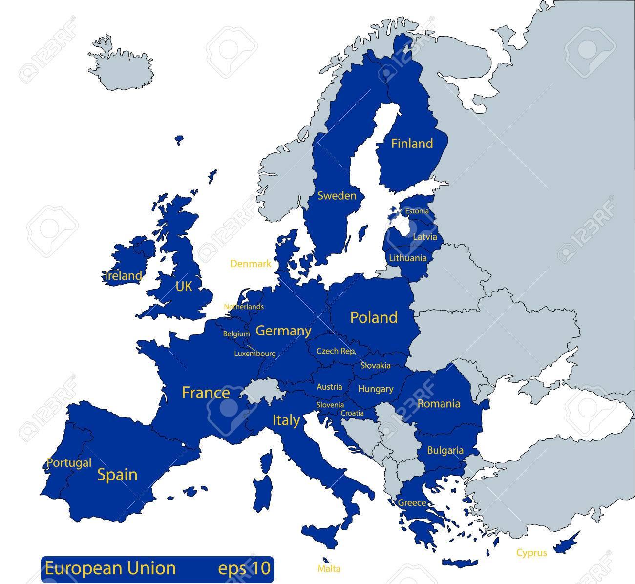 Karte Von Europa Mit Eu Ländern In Blau Und Die Option Für Andere